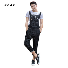 2017 New Men's Fashion Pocket Black Denim Overalls For Male Casual Slim Jumpsuits Plus Large Size Jeans Bib Pants Free Shipping
