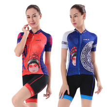 Beijing Opera Bicycle Clothing Set Reflective Women's Mtb Bike Cycling Jersey & Bike Shorts Kit Maillot Ciclismo Cycling Suit