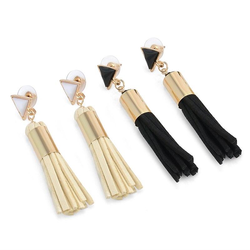 Fahion Boho Triangle Leather Tassel Long Drop Earrings Vintage Dangle Earrings Antique Fashion Jewelry Earrings for women