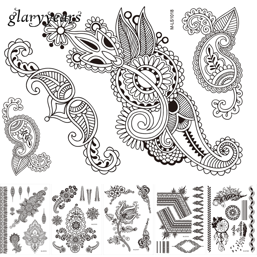 Henna Style Tattoos Lace Tattoo: 6 Sheets Temporary Body Art Tattoo Sticker Flower Lace