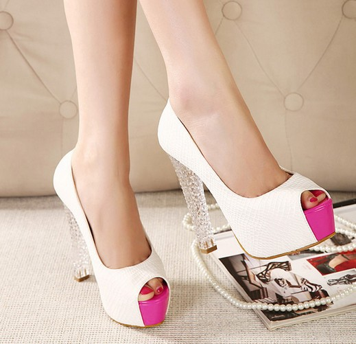 Newest 2014 Spring Fashion Peep Toe Crystal Heel T...