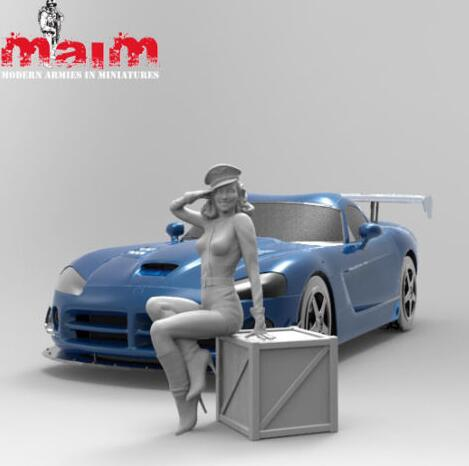 1/24 75mm We Salute You Girl NOT HAVE CAR  Resin Model Miniature  Figure Unassembly Unpainted