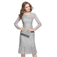 Summer Dresses 2017 Ladies Maxi Dress High Waist Long Sleeves Casual Vintage Round Neck Knee Length