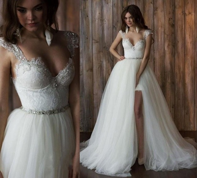 Detachable Train Over Skirts Long Wedding Dresses Sweetheart High