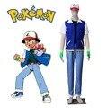 Pokemon Ash Ketchum Cosplay Costume Short Sleeve Jacket Black T-shirt Ash Katchum Hat Set Pokemon Costume for Men Halloween