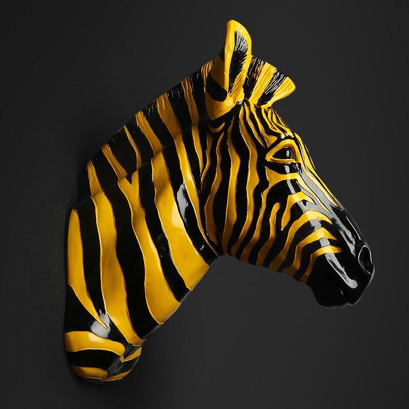 Acessórios de Decoração Para casa Mobiliário Animal Cavalo Pingente Decorações Murais de Parede Acima Do Local Da Zebra escultura estátua de cabeça