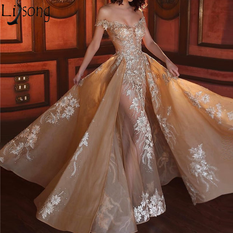 Fashion Champagne Mermaid Evening Dress Long Overskirts Appliques Organza Prom Dresses Off the Shoulder Party Gown Nude Lining