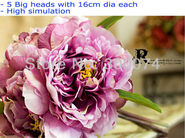 Super large artificial silk peony flowers bunch/ bouquet with 5big heads in high simulation, pink and purple,2bouquets/lot