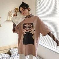 الصيف الكورية نمط kawaii القمصان المرأة اليابانية المتناثرة لطيف جميل فتاة قمم عارضة فضفاض أنثى قصير كم t-shirt