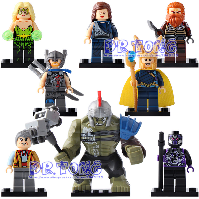 DR TONG X0165 Super Heroes Thor Amora Jane Foster Hulk Loki Sakaarian Guard Grandmaster Volstagg Building Blocks Toys Kids Gifts dr tong 80pcs lot sy658 super heroes hulk superman thor batman ironman spiderman building blocks bricks diy toys children gifts