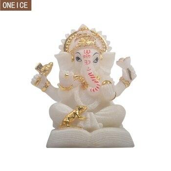 Ганеша нарисованная смола, индийский слон, Бог, Будда, скульптура, религиозная статуя фэн-шуй, украшение дома, аксессуары, поделки