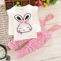 2015 новая коллекция весна/осень девочка детская одежда набор малыш кролик детские костюмы спортивный костюм для детей девушки наборы