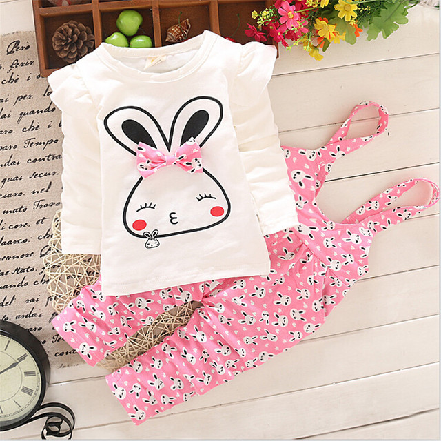 2015 new spring/autumn Baby girl children clothing set kid rabbit children's costumes sports suit for kids girl's sets