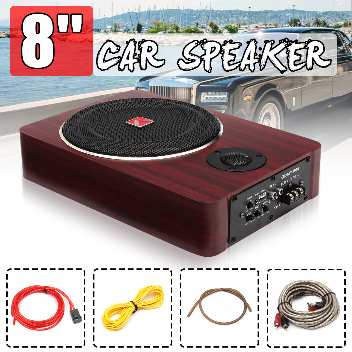 8 inch 600W Wood Under Seat Car Subwoofers Speaker Active 12V Auto Car Audio Stereo Brass Sub Woofer Amplifier Speakers powerful 8 inch 12v car audio acoustic portable active 500watts speakers amplifier boom box stage louder speaker subwoofer