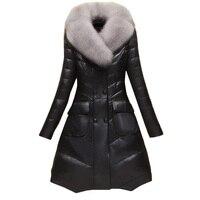 Искусственная кожа высокого качества кожаная куртка из овечьей кожи меховая куртка женская M 4XL 2018 зимние пальто Длинная кожаная куртка Жен