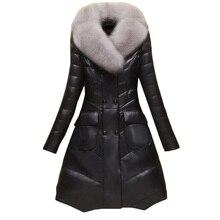 PU High quality brand coat Sheep Skin Fur Coat Women M 4XL 2018 Winter Overcoats Long