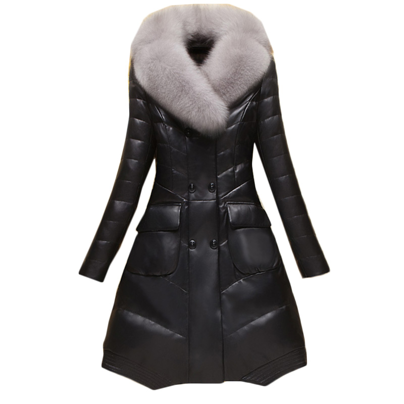 PU High quality   leather   jacket Sheep Skin Fur jacketCoat Women M-4XL 2018 Winter Overcoats Long   Leather   Jacket Women Trench Coat