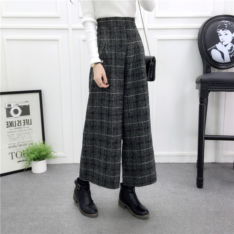 ZHISILAO Loose Trousers Women Winter Warm Wool Wide Leg Pants Maxi Plaid High Waist Trousers Elastic Thick Black Pants Casual 19