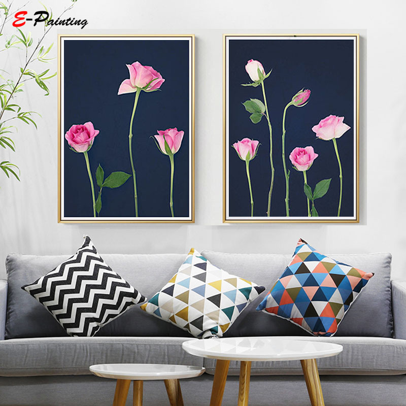 Modern Canvas Art Pink And Navy Roses Printable Above Bed