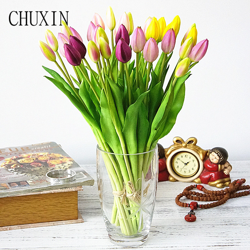 44cm Real touch soft silicone Artificial 7Pcs/bunch tulips home decoration Fake flower wedding  bridal handing flowers tulip-1