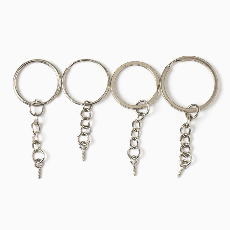 20pcs/lot 55/60mm Length Key Chains Key Ring Silver Color Round Split Keyrings Keychain For Bags Diy Jewelry Making Materrials