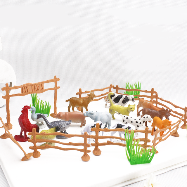 15pcs set 2 funny children animal toys cow dog sheep goose chicken