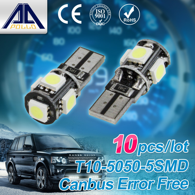 Wholesale 10pcs/Lot Canbus T10 5smd 5050 LED car Light NO OBC W5W 194 5 SMD Error Free working source super White Light Bulbs
