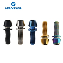 Wanyifa M5x16mm M5x18mm M5x20mm Conical Head Titanium Bolt Screw with Washer for Bicycle Stem Blue Black Rainbow Gold
