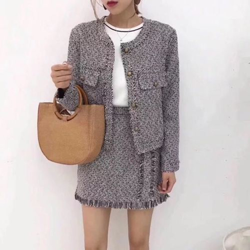 ZAWFL High Quality 2019 New Fashion Women's Suits Long Sleeve Elegant Tweed Jacket And Skirt Two Piece Set