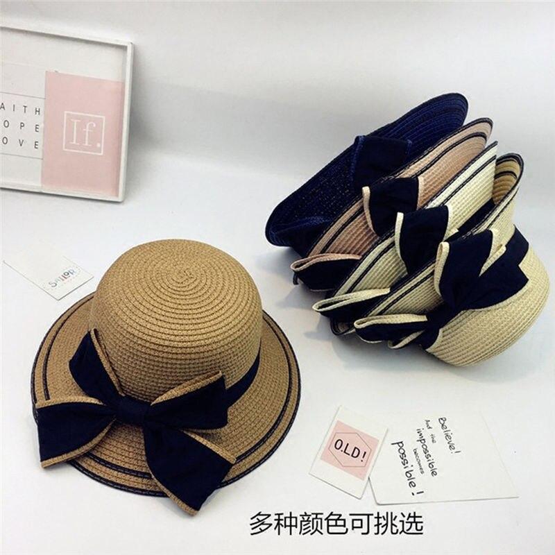 New Women Summer Parent-child Women Casual Daily Baby Kids Girl Beach Bow Straw Flat Brim Sun Hat Cap #4F09 (28)