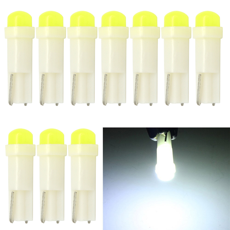 10pcs T5 COB Led Ceramic Dashboard Gauge Instrument Wedge Base Car Auto Side Wedge Light Lamp Bulb 12V White Car styling