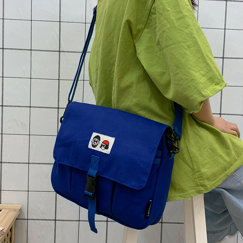 2019 Summer New Hot Fashion Simple Cartoon Canvas Handbags for Women Female Casual Zipper Messenger Bags Shoulder Bags(China)