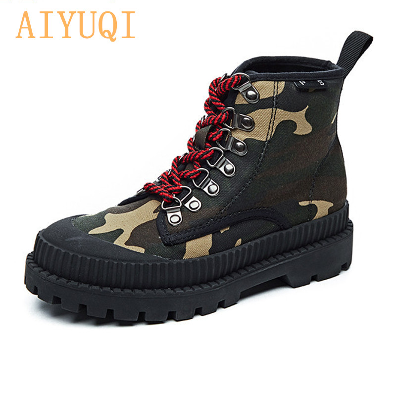 AIYUQI 2019 New Motorcycle Boots Martin Boots Female British Style Military Shoes Autumn Korean Wild Canvas Boots Women in Ankle Boots from Shoes