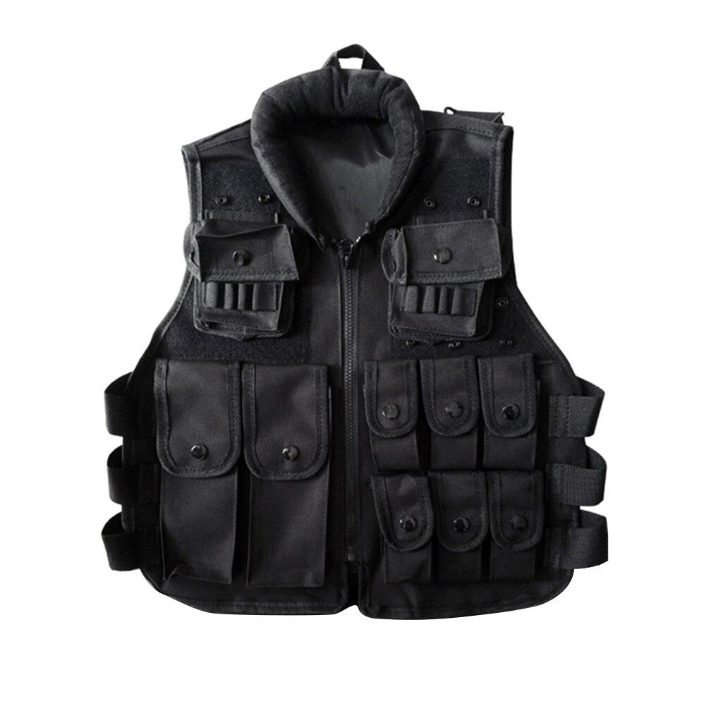 Outdoor Horse Riding Vest Security Guard Children Kids Black Tactical Vest Jacket Waistcoat Tool Holder Toy Clip Darts 3