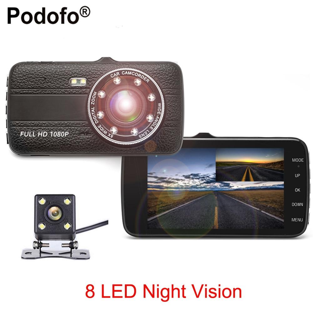 Podofo 4 IPS Double Lentille Voiture DVR Full HD 1080 P Voiture Caméra DVR vidéo Enregistreur Avec Caméra de Recul 8 LED de Vision Nocturne Caméscope