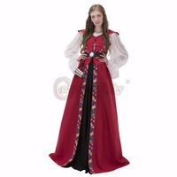 Custom Made Medieval Renaissance Victorian Gothic Long Dresses Halloween Ball Gowns Costumes Gothic Evening Dresses