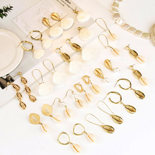 2019 New Ocean Shell Big Circle Earrings Gold Geometric Drop Imitation Pearl Summer Beach Ladies Fashion Jewelry