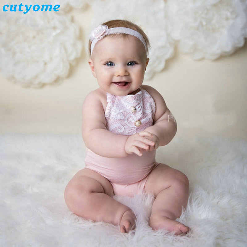 Cutyome Baby Girls Lace Rompers For Newborn Photography Props Clothing Infant Boys Girl Sleeveless Overalls One Piece Jumpsuits newborn baby rompers baby clothing 100% cotton infant jumpsuit ropa bebe long sleeve girl boys rompers costumes baby romper