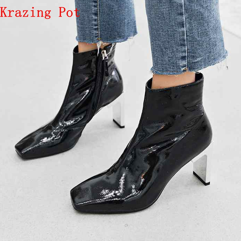Krazing Pot Winter genuine leather zip decoration motorcycle boots metal high heels streetwear square toe women ankle boots L70 who who sell out