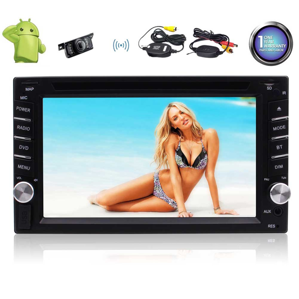 Eincar Android Car Stereo GPS Navigation Quad Core Auto Radio AM/FM Car DVD Player 2 Din 6.2'' Touch Screen BT Steering Wheel