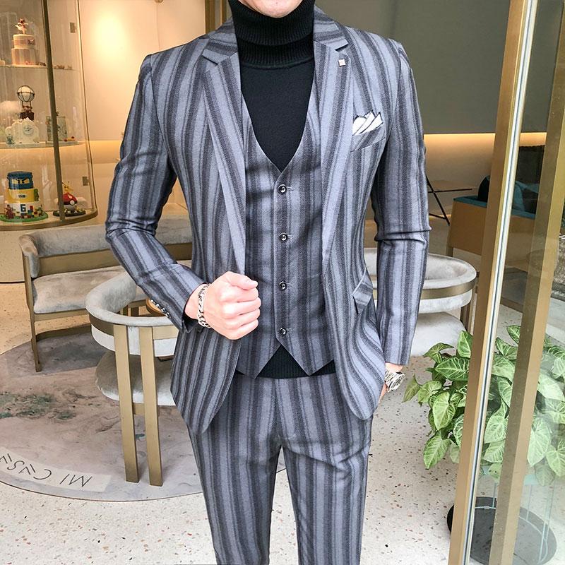 Wedding Dress Suits For Men Blue Plaid Formal wear Suits 3 Pieces Suits Jackets+Pants+Vest New Men Slim Groom Suits Size XS-5XL