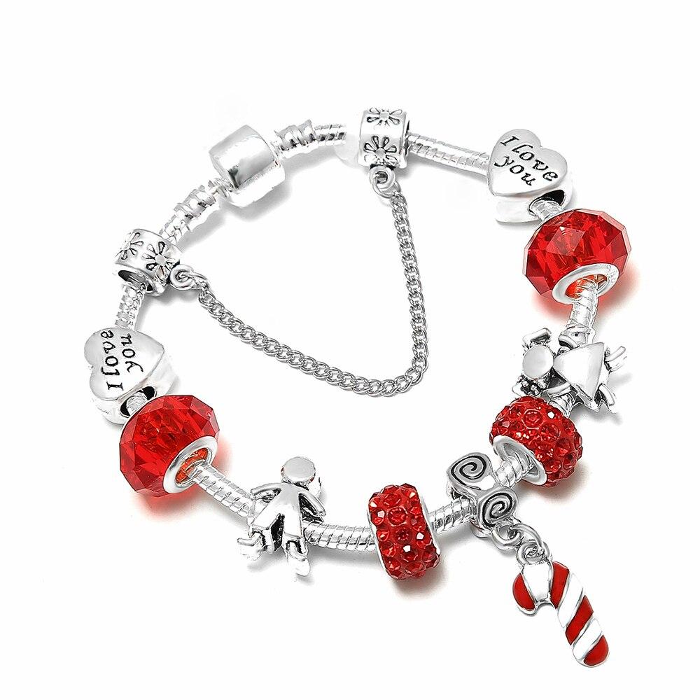 SPINNER Christmas Love DIY Charm Bracelet Little Boy Girl Romantic Couple Pandora Bracelet for Women Jewelry Christmas Gift
