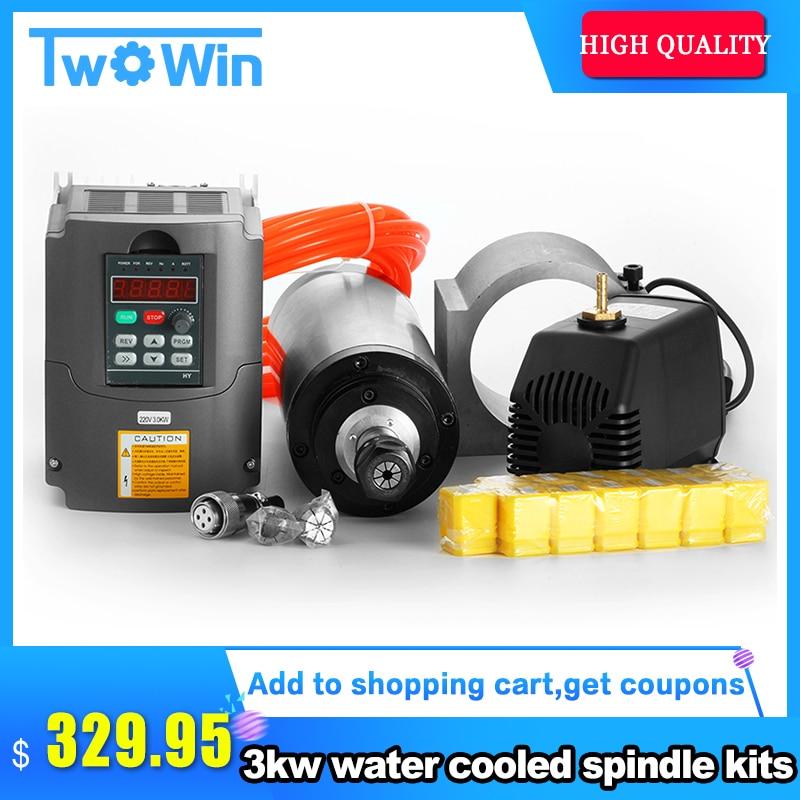 3kw water cooled spindle 3KW spindle motor 220v 3kw frequency inverter ER20 lathe chuck 100mm spindle