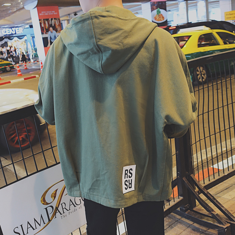 2017 hot selling style trend loose hooded pure color white men's high quality casual jeans jacket men army green nice coat