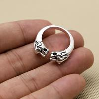 100% Solid 925 Sterling Silver Rings Men Women Double Tiger Head Cuff Band Vintage Cute Design Handmade Silver 925 Jewelry, 8.4g