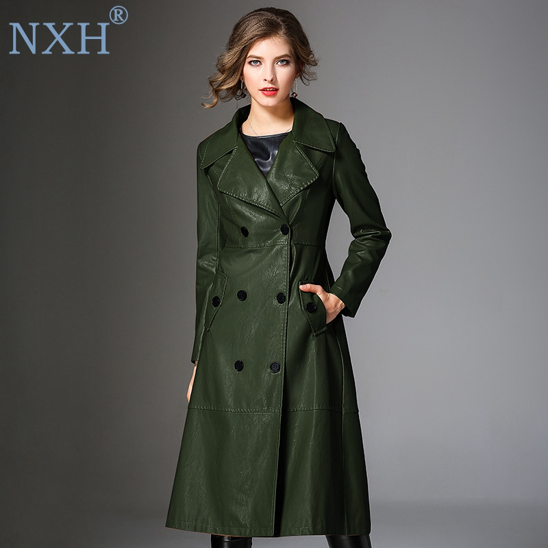 NXH high quality Womens PU leather trench mid long coat windbreaker women leather coat plus size outwear clothes female fashio