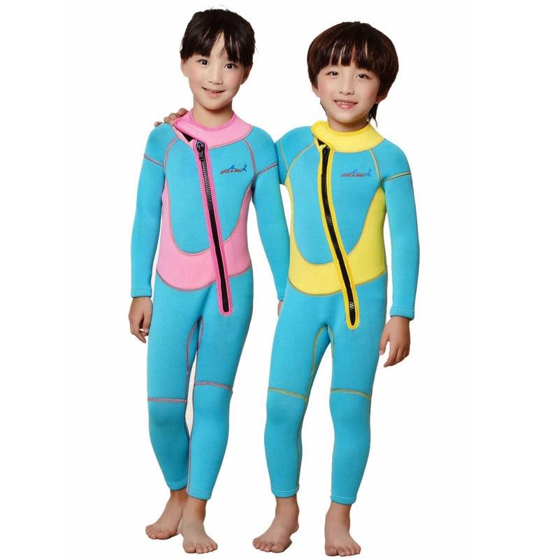 Long Sleeved Thermal 2.5mm Neoprene Kids Wetsuit Dive Wet Suit Child Swimwear One-piece Sunscreen Winter Swim Warm Clothing
