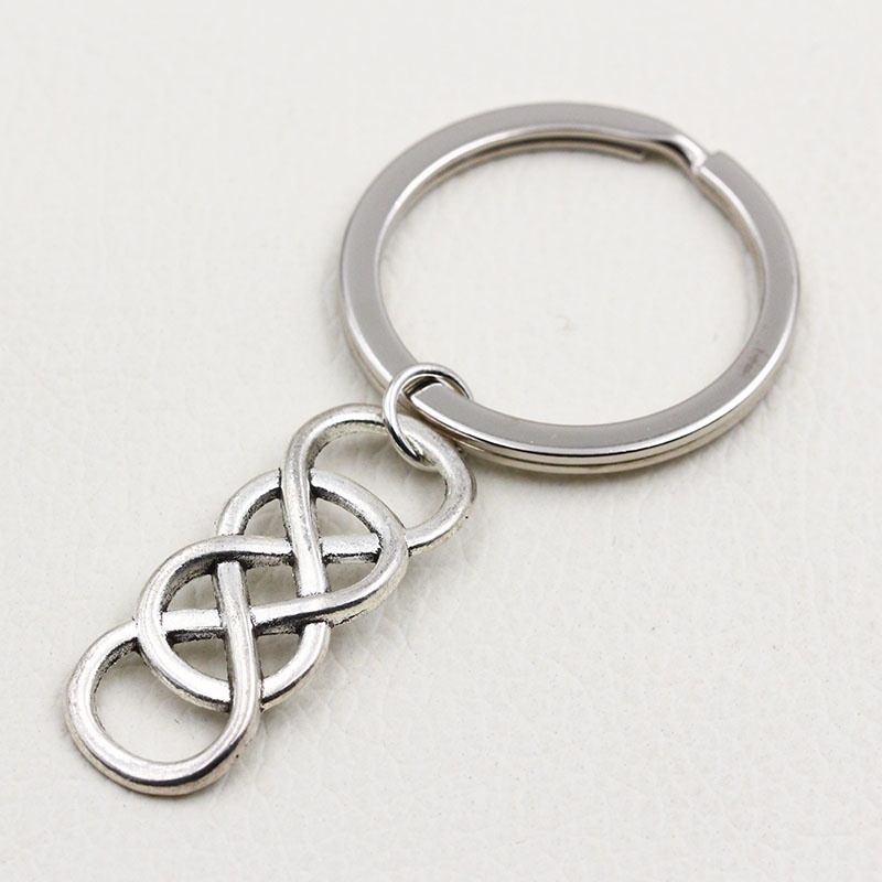 XCHARMS 2019 New Fashion Creative Novelty Gift Double Infinity Pendant Keychains Rings DIY Handmade Vintage Silver Key Chains