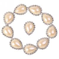 10Pcs Pearl Color Water Drop Charming Rhinestone Sewing Craft Button Clothes Decoration Acrylic