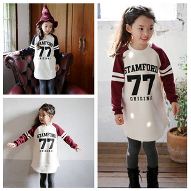 Fashion baby girls long sleeve shirts cotton children t shirts letter 7 long section roupas infantis menina girls tops